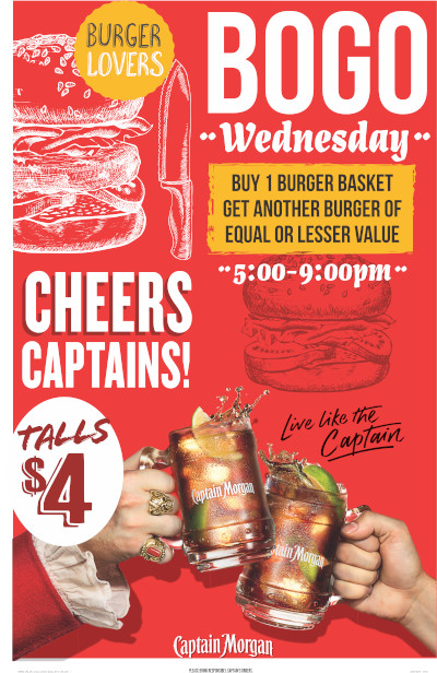 Buy one burger basket and get another burger of equal or lesser value. 5--9pm on Wednesdays. $4 Talls.